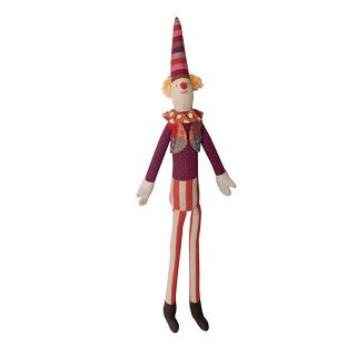 MAILEG MINI STILT CLOWN - $45.95 - Create a magical space with this delightfully detailed stilt clown. Perfect accent to the Maileg Circus collection - perch on a shelf for whimsical circus decor. He visits birthday parties part time when not at the circus. #sweetcreations #kids #toy #gifts #circus #clown #Maileg