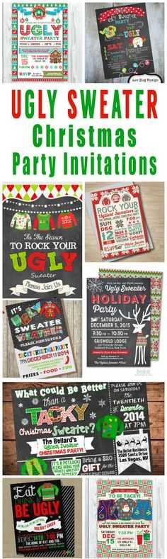 A tacky collection of ugly Christmas sweater party invitations and other ugly sweater Christmas party printables.