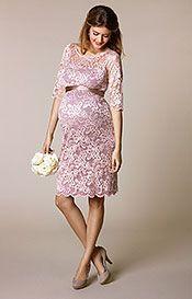 Amelia Lace Maternity Dress Short (Vintage Rose)
