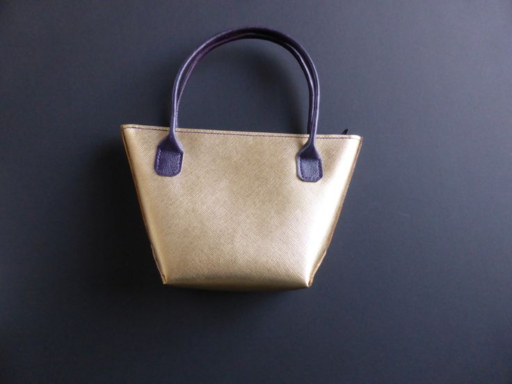 gold saffiano small tote with purple goat leather handles. by YoudsLeather on Etsy