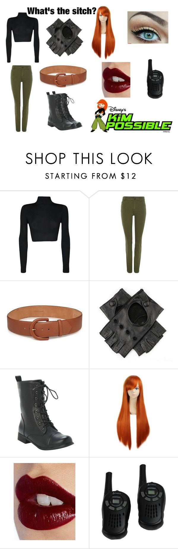 """""""Kim Possible costume"""" by the-professional-fangirl ❤ liked on Polyvore featuring WearAll, Oui, Disney, W.Kleinberg and Charlotte Tilbury"""