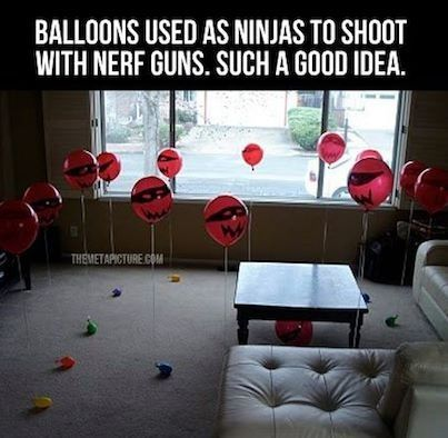 Teaching ninja skills one step at a time. Use balloons and nurf guns. To cute an fun to pass!