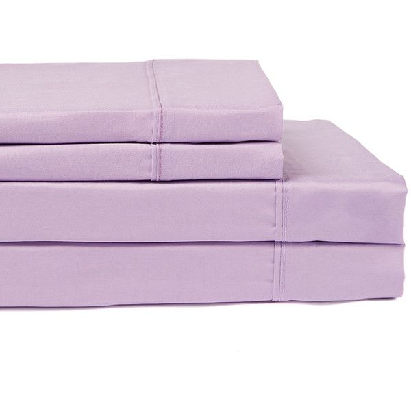 Essential Living Lilac Microfiber Sheet Set ($12) ❤ liked on Polyvore featuring home, bed & bath, bedding, bed sheets, lavender bedding, lilac bedding, twin bedding, twin flat sheets and microfiber twin sheets set