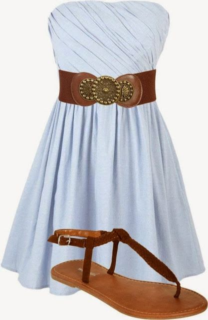 Summer outfit with cowgirl shoe | Not too fond of the brown belt and brown sandals, but loooove the dress!!