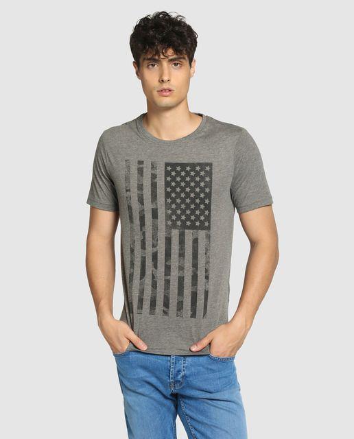 Camiseta de hombre Only & Sons gris de manga corta