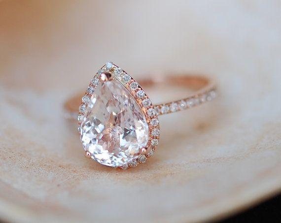 Peach champagne Sapphire Engagement Ring 14k Rose Gold 4.3ct, Pear Cut Peach Sapphire Ring. Engagement ring by Eidelprecious