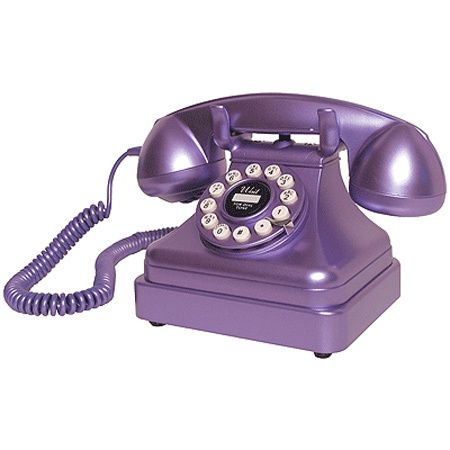 you don't see a purple phone every day  And a really old one to boot, Sally Gaugert