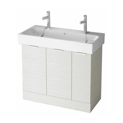 arcom 40 inch larch white bathroom vanity cabinet with fitted double sink o4t02