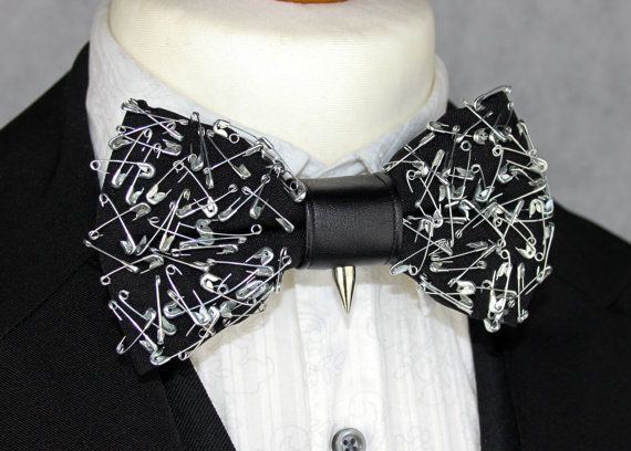 Silver Safety Pin Bow tie