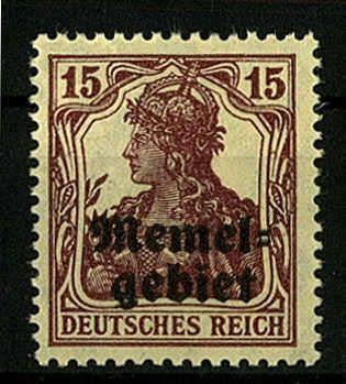 Memel, Michel 3 b - 15 Pf. dkl´braunpurpur, postfr. Luxus, tiefst gepr. Dr. Klein VPP  Lot condition **  Dealer Darmstädter stamp auction  Auction Starting Price: 90.00 EUR
