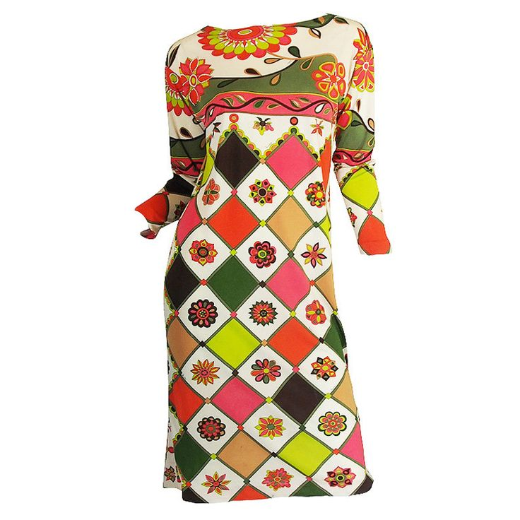 1960s Geometric & Floral Emilio Pucci Shift Dress | From a collection of rare vintage day dresses at https://www.1stdibs.com/fashion/clothing/day-dresses/