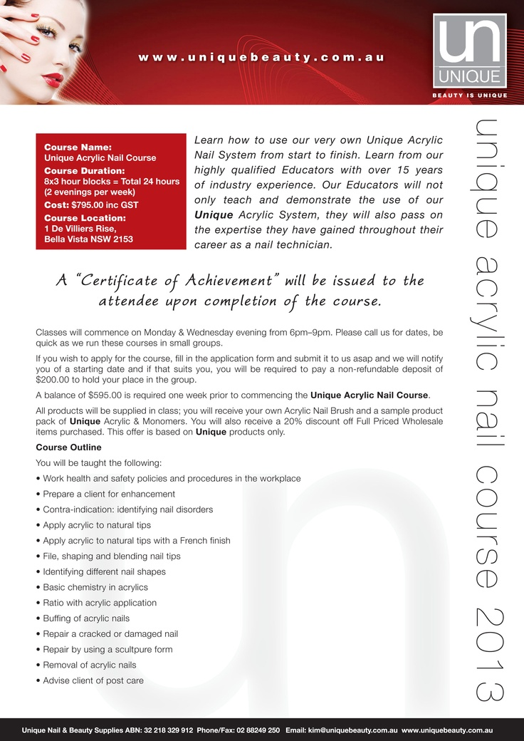 Unique Nail & Beauty Acrylic Nail Course Outline Brochure