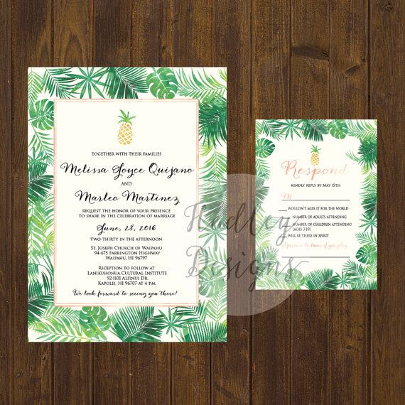Pineapple Wedding Invitation Tropical by HadleyCustomDesigns