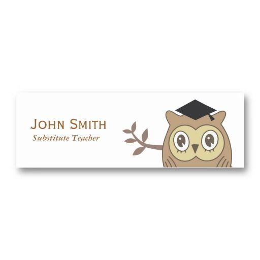 business cards for teachers or substitute teachers teacher