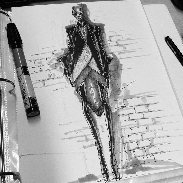 Fashion Sketchbook - fashion design drawing, marker illustration; fashion sketch // Peter Do