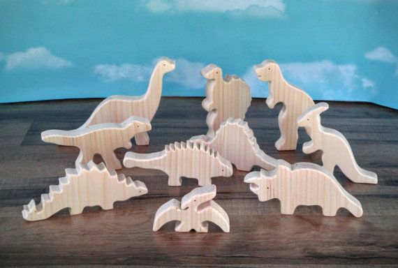Wooden toy dinosaurs - Wooden toys - Dinosaur toys - T-Rex - Brontosaurus toy - childs gift - gift for boy - gift for girl - birthday gift