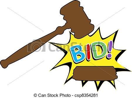 Vector - Bid to buy auction gavel cartoon icon -