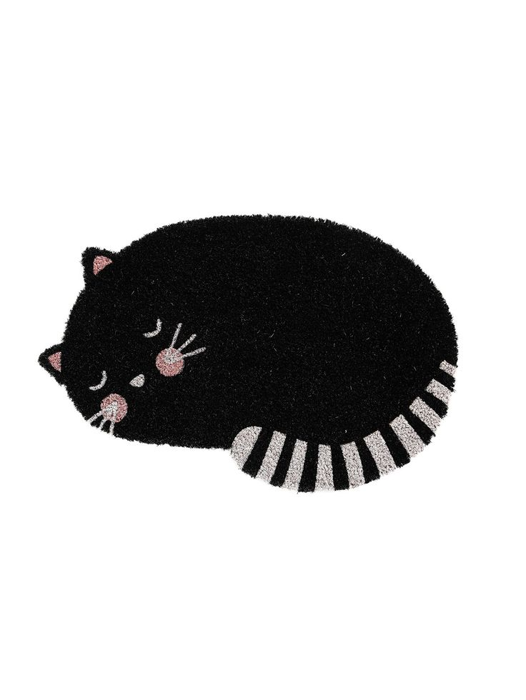 Show your allegiance to our feline friends with this adorable MOZI door mat.  Made from printed coir & shaped like a peaceful, curled up kitty.