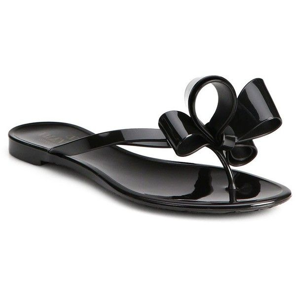 Valentino Couture Bow Jelly Flip Flops ($310) ❤ liked on Polyvore featuring shoes, sandals, flip flops, apparel & accessories, black, jelly sandals, black jelly sandals, bow sandals, valentino shoes and flip flop sandals