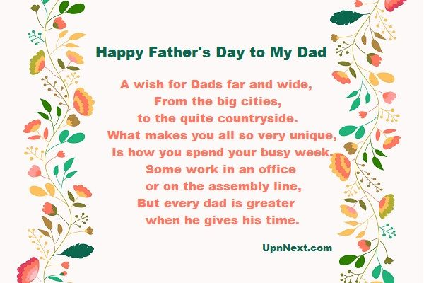 A wish for Dads far and wide, From the big cities, to the quite countryside. What makes you all so very unique, Read full poem..  #Father'sDay