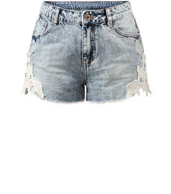Blue Denim Acid Wash Lace Trim Side Shorts