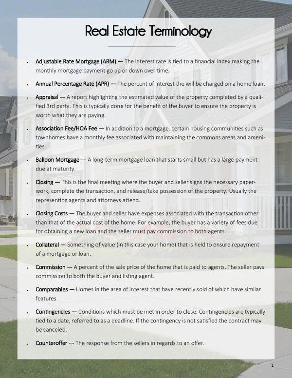 Real Estate Terminology Pdf Estate Pdf Real Terminology In