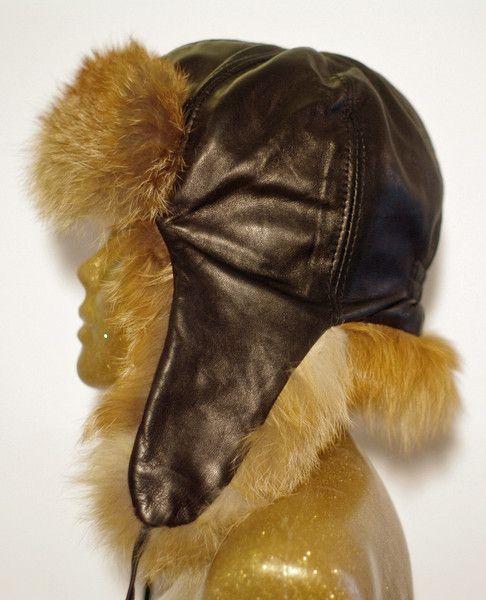 Aviator Pilot Fur Leather Hat