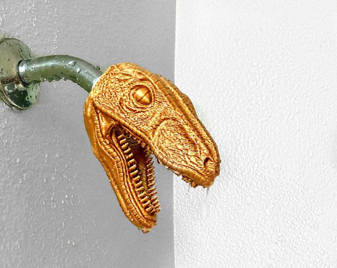 Velociraptor Shower Head Dinosaur Bathroom 3d Printed Jurassic World Novelty Shower Head Dino Bath Unique Items Products 3d Printing Business Etsy