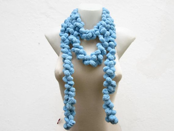 Hand crochet Long Scarf  Blue Mulberry Scarf  Pompom by scarfnurlu