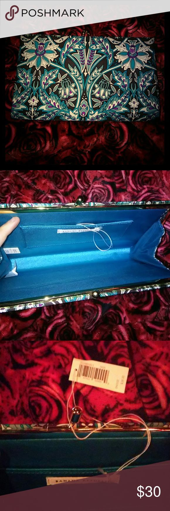 Banana Republic Clutch vintage inspired. This listing is for a NWT clutch from Banana Republic. It has a very vintage feel and has teal, green, purple, white, and black with a coin bag snap closure on top.  The inside is a silk teal and the whole bag feels silky. It has never been used and has the tags and orignal paper still in it.  Any questions please ask!  I am new to this and don't know how to bundle but contact me and I can always make you a listing and make me an offer.  Thanks :) xo…