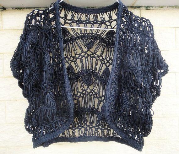 Black Crochet Crop Top Wedding Shrugs Boleros Summer Lace Sheer Beach Cover up