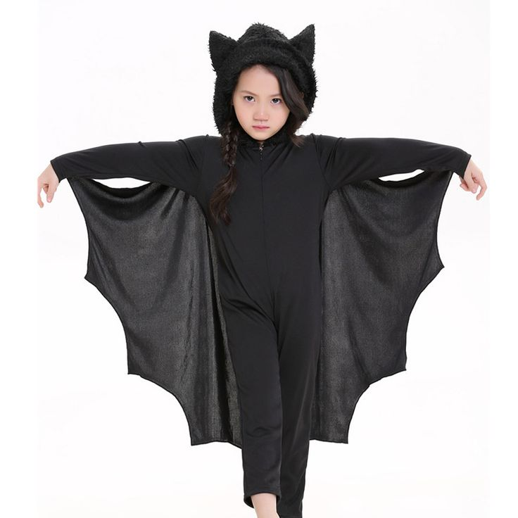 Halloween Animal Cosplay Cute Bat Costume Kids Black Jumpsuit Connect Wing Batman Cosplay Costumes for Boys Girls with Gloves #Affiliate