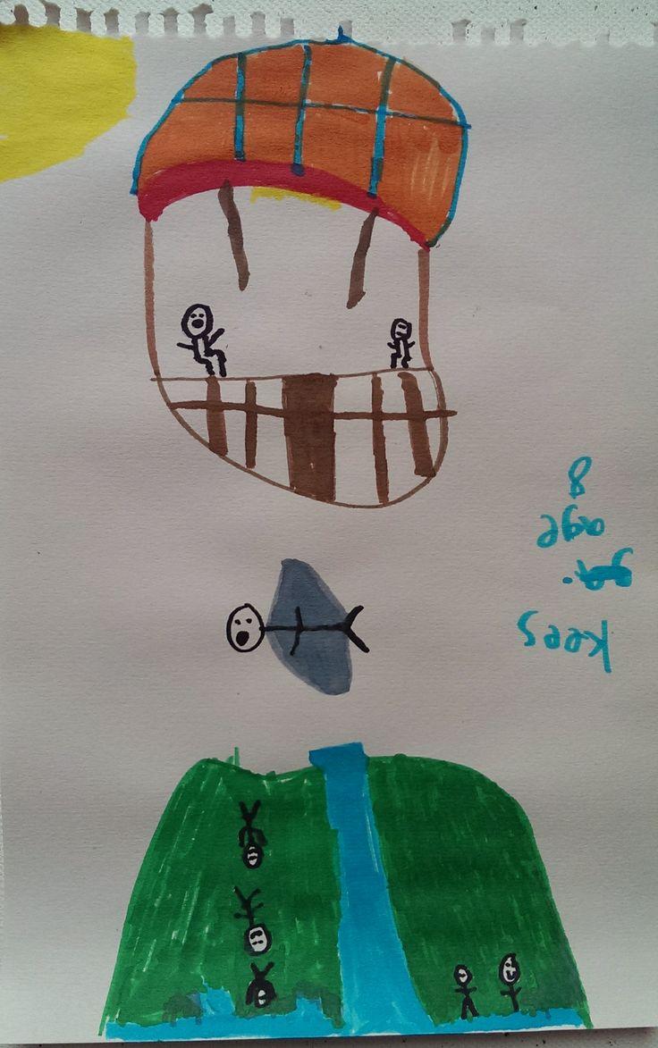 Hot Air Balloon & Wingsuit boy Artist: Kees, Age 8