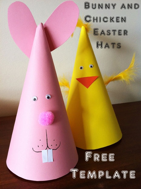 For procrastinators like me: an easy Easter craft for kids. Bunny and chicken Easter party hats.