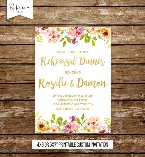 rehearsal dinner invitation brunch invitation tea party invitation floral rehearsal dinner wedding rehearsal invitation dinner invite by RebeccaDesigns22. Available at our Etsy Shop