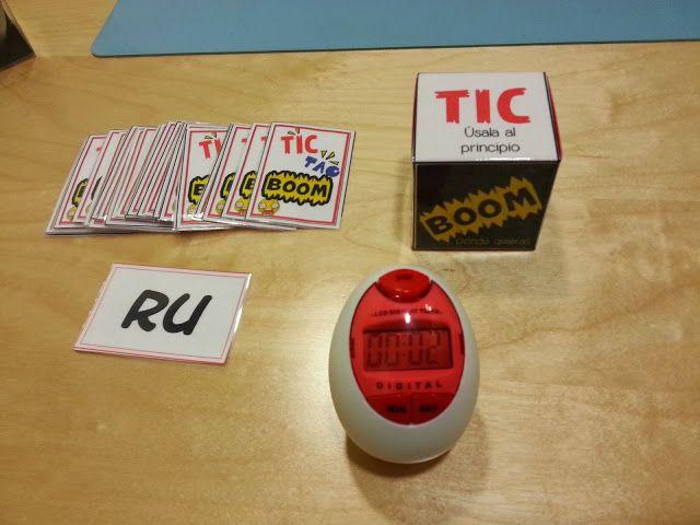 La carta te dirá la sílaba que hay que usar y el dado si la tienes que usar al principio, en medio o al final de la palabra.   Tic Tac, ...