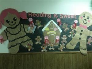 Зимняя Gingerbread Чтение Тематические Доска объявлений Идея
