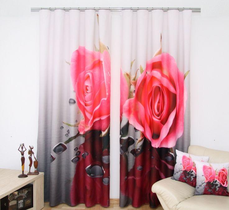 Zasłony dekoracyjne szaro białe z różą w kolorze różowym