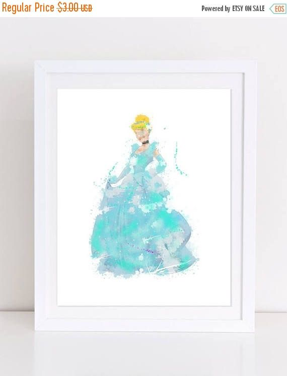70%OFF Cinderella Watercolor Poster Disney Poster Printable