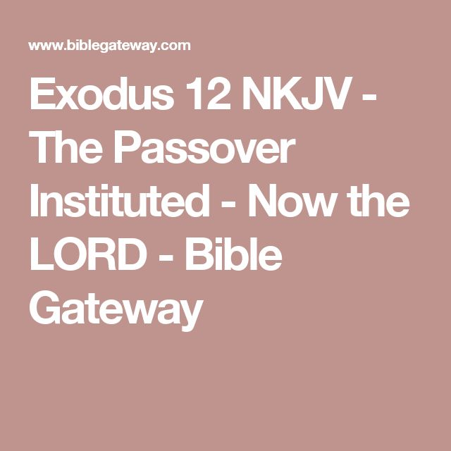 Exodus 12 NKJV - The Passover Instituted - Now the LORD - Bible Gateway