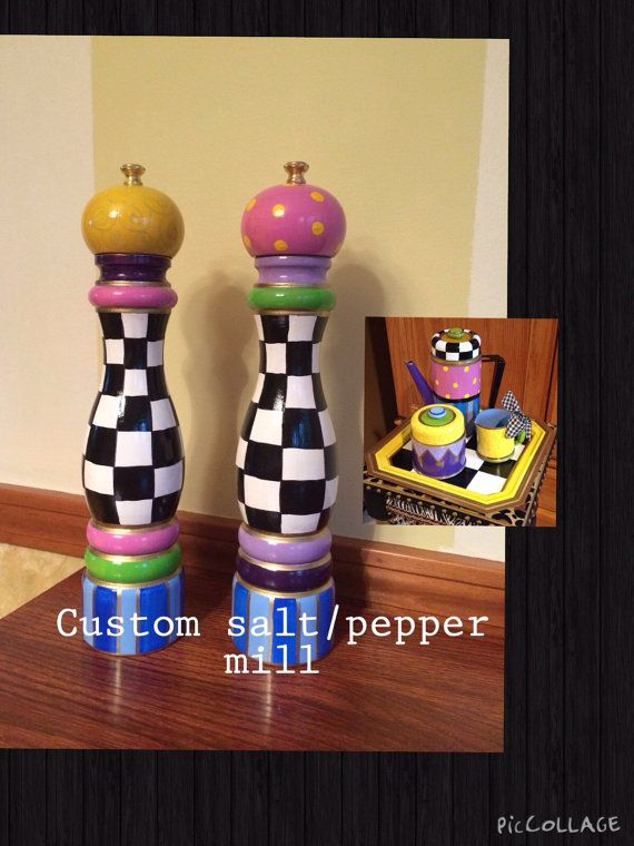 Custom 10 pepper mill salt shaker set wood by paintingbymichele, $125.00