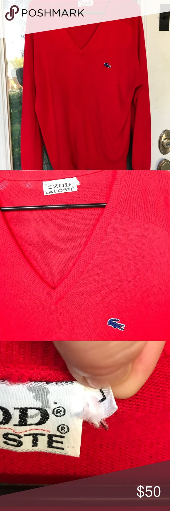 Vintage Izod Lacoste Sweater The best!! When they were still teamed up that is. Maybe a lil piling but not anywhere near unwearable or unmanageable. If I cannot achieve the sale price I list, its mine and I am going to rock this sweater!!! It will be big on me, but I will roll up the sleeves and add an under shirt with a funky cool mini scarf!! Lacoste Sweaters V-Necks