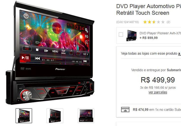 DVD Player Automotivo Pioneer AVH-3880DVD com Tela 7'' USB Retrátil Touch Screen << R$ 49999 em 3 vezes >>