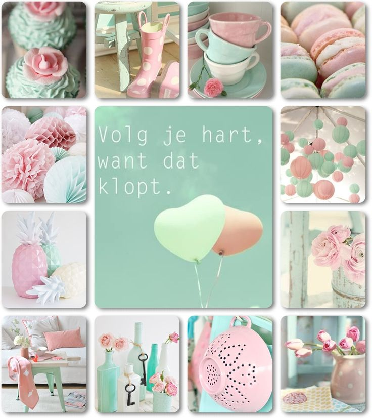 """Volg je hart, want dat klopt.""moodboard mint and pink by AT"