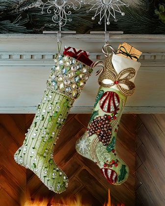 Kim Seybert Frosted Pine Aurora Christmas Stockings