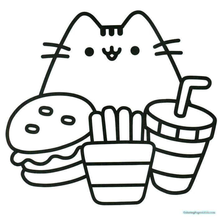 Fast Lunch Pusheen Coloring Pages In 2020 Hello Kitty Colouring