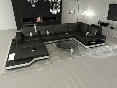Sofa Dreams Leder Wohnlandschaft MESSANA LED | Wohnzimmer > Sofas & Couches > Wohnlandschaften | Glanz | Holz | Sofa Dreams