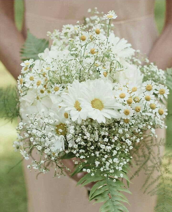 Bridesmaid's Pretty Bouquet Featuring: White/Yellow Daisies, White/Yellow Chamomile, White Gypsophila & Green Fern××××