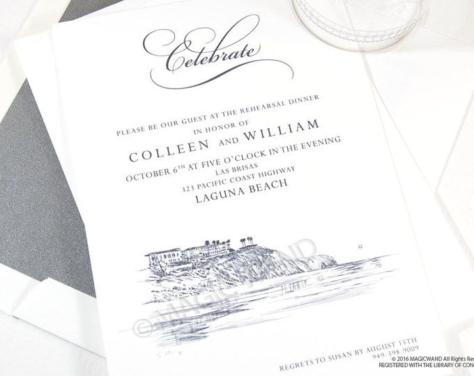 CUSTOM ORDER:  INCLUDES- 50 Austin Rehearsal Dinner Invitations & Envelopes ($62.50) 50 Envelope Liners ($49.50) 50 Directions Cards ($50.50) 50 Return Addresses($25.00)  Total $187.50   Our exclusive MagicWand artist in residence has captured the historical and contemporary beauty of the Austin Skyline as seen like no other in our beautiful Rehearsal Dinner Invitations. Our Skylines are exquisitely and exclusively drawn for MagicWand Weddings. Our designs are also used by Celebrity Event...