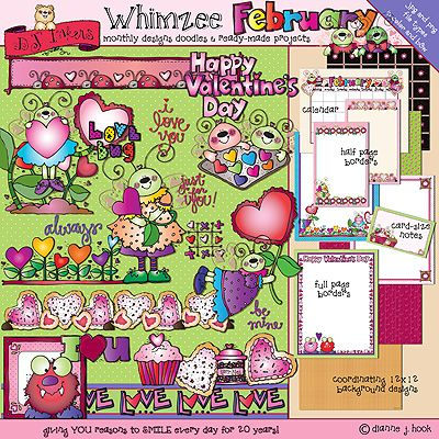 Still need a little help creating a Valentine smile?  'February Whimzee' has so many project possibilities for your love bugs & sweethearts, you won't know where to smile first!  25% off this week only! (Sale ends 2/18/15)